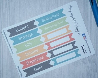 Budget Savings Bills Income Expenses Debt Sinking Emergency Fund Headers Labels Stickers Planner Pages Erin Condren Planner #S022