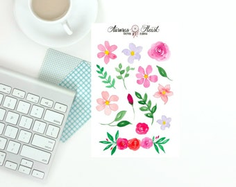 Floral elements watercolor BuJo planner stickers