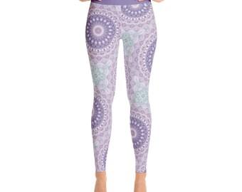 Purple and Green Mandala Leggings - Mandala Print Tights, Unique Leggings, Printed Art Tights, Art Pants