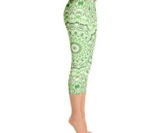 Green Capri Yoga Pants for Women - Mid Rise Yoga Leggings, Green Leggings, Printed Mandala Design Leggings Tights