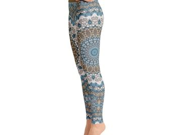 Burning Man Leggings - Patterned Leggings for Women, Tribal Yoga Pants, Mandala Printed Boho Leggings, Shaman Clothing
