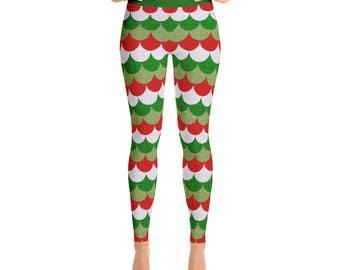 Christmas Mermaid Leggings - Holiday Yoga Pants, Red and Green Dragon Scales, Mermaid Scales, Fish Scales, Leggings Tights