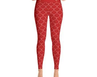 Mermaid Leggings Women - Red Leggings, Red Yoga Pants, Red Dragon Scales Leggings, Fish Scales Tights, Footless Tights, Yoga Tights