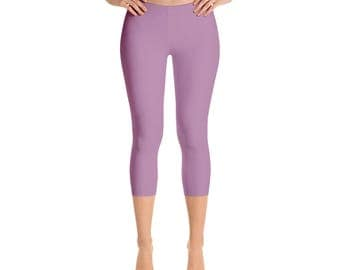 Capris - Opera Mauve Leggings, Womens Yoga Clothes, Mid Rise Waist Workout Yoga Pants