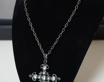Ornate Jeweled and Metal Cross Pendant Costume Necklace