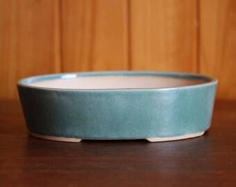 Speckled duck egg blue oval bonsai pot