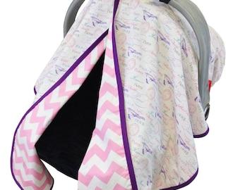 Pastel Paris Car Seat Tent Pink Purple
