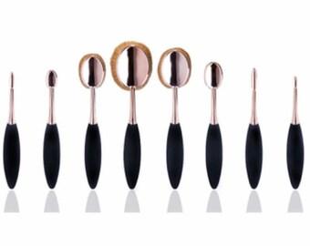 10 Piece Rose Gold Oval Brush Set