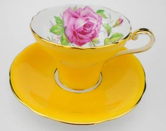 Aynsley Corset art deco yellow large pink rose Tea cup and saucer large cabbage pink rose antique cup and saucer, teacup