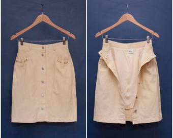 90s Mini Skirt Button Down Mini Skirt Pastel Yellow Short Pencil Skirt Extra Small Cotton Linen Skirt XS Mini Skirt High Waist Pencil Skirt