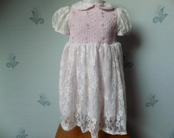 ceremony dress, girl, dress lace, Claudine neck, cotton, pink, white, short-sleeved, dress of ceremony, handmade