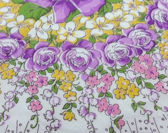 SRPING Handkerchief, Printed Purple /Yellow Flowers, Vintage 50's, Round Design, Lady's  Accessory, Victorian Charm, Retro Classic, Hankie