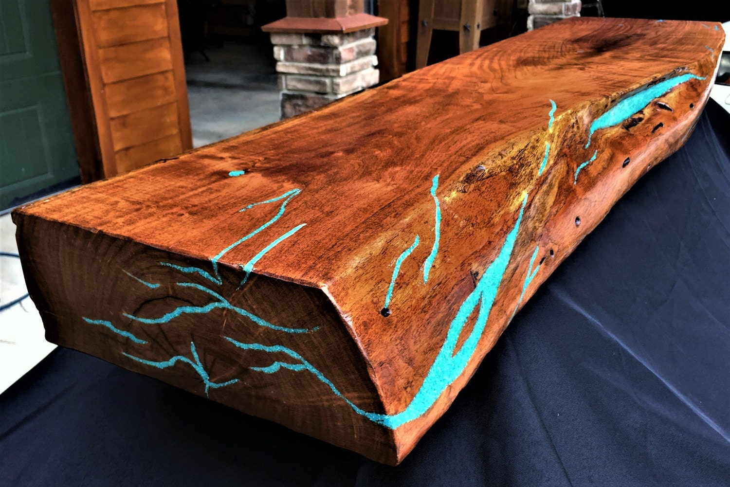 Mesquite Live Edge Fireplace Mantel Turquoise Inlay