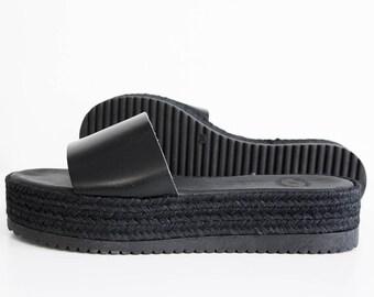 Black flatforms leather sandals wedge espadrilles, womens black sandals