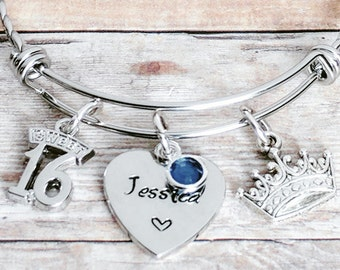 Sweet 16 bracelet, Sweet 16 gift, Personalized, birthday, gift for her, Sweet 15 bracelets, Birthday Jewelry, Daughter Birthday, Quinceanera