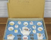 Collectable Antique Victorian Miniature Dolls Toy Childs China Tea Set with Animal Decoration in Gift Box