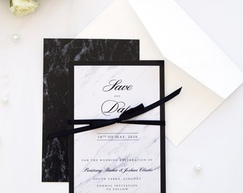 Marble Ribbon Save the Date Cards, Printable File or Printed Cards, Custom Colors and Size, Elegant Wedding, by Paradise