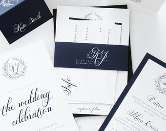 SPECIAL OFFER 24 Complete wedding package discount, Monogram Wedding Invitation Sets