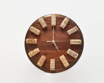 Wine Clock - Walnut - Cork Clock - Wine Themed Gift - Wine Cork Decor - Wine Wall Clock - Gift for Wine Lover - Bar Decor - Wine Cork Craft