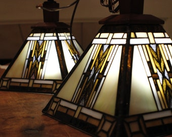 Pair of Vintage Mission Style Stained Glass Pendant Light Fixtures Prairie Wheat
