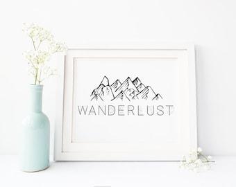 Wanderlust Travel Mountain Adventure Minimalist Printable Sign, Printable Digital Wall Art Template, Instant Download, 8x10