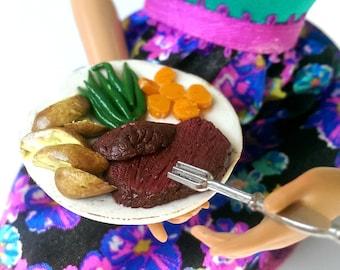 1:6 scale steak dinner, Dollhouse food, Barbie food, realistic dollhouse miniature, Fashion Doll Playscale bjd props