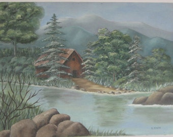Painting, small landscape, mountain scene, oil painting