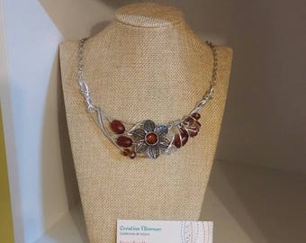 Chocolate flower necklace, silver wire
