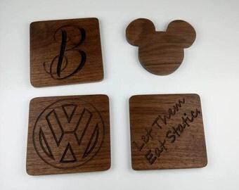 custom walnut drink coasters, mickey mouse, star trek, Volkswagen, monogram