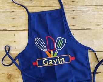 Kids personalized apron, child apron, kids embroidery apron, personalized apron, boy apron, girl apron, kids kitchen apron, rolling pin