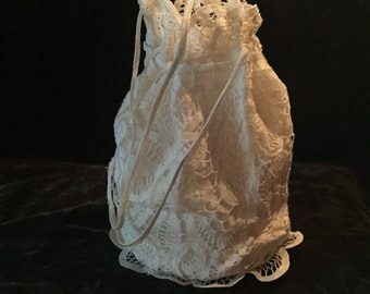 White Belgium Lace Wedding Pouch - Fully lined Cotton ~ Vintage