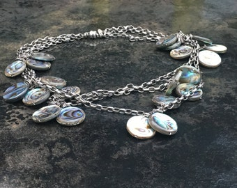Artist made choker necklace in sterling and abalone, three strand, hand made silver chain with pendants signed RS.