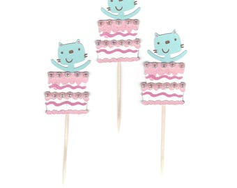 Kitty Cat & Cake Cupcake Toppers with Glitter and Sparkles, Set of 12, Birthday Party-Baby Shower Kitten Cake Picks, TwoSistersGreetings