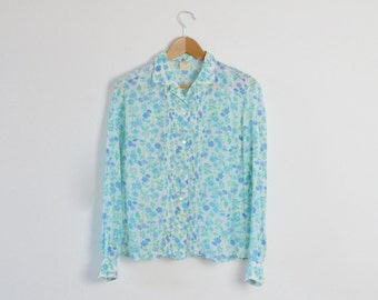 Vintage Floral Blouse  |  Retro Summer Blouse  |  Ladies Floral Shirt  |  Vintage Women's Shirt