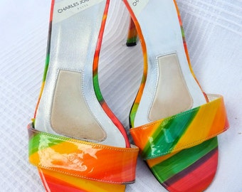 Mules vintage - orange and green - multicolored - leather - Charles Jourdan (80s) - size 37 (FR) - 4 (UK) - 5.5 (US)