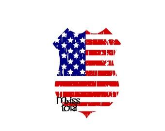 Police Badge American Flag Distressed SVG Cut file  Cricut explore file 4th of July t-shirt design