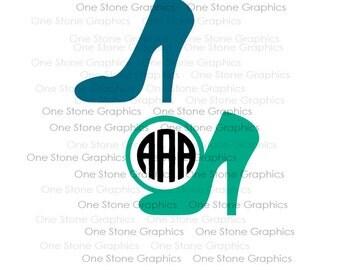 High heel monogram,monogram frame,high heels,high heel svg,svg file,digital download,monogram frames,frame svg,monogram,heel monogram,heel