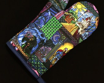 Beauty and the Beast Stained Glass Oven Mitt
