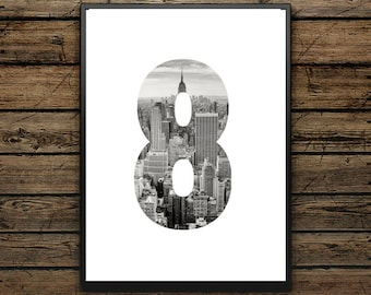 "Poster ""8"" Number - Scandinavian style - Wall decoration - Typographic Illustration - Black and White - Gift"