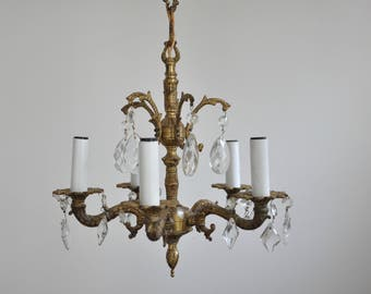 Ornate Petite Brass Chandelier - 5 Arms