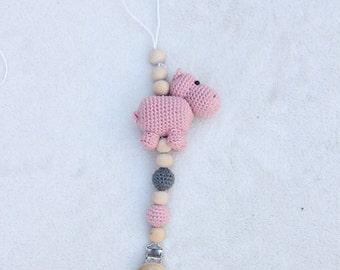Crochet pacifier cord hippo