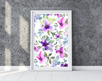 Watercolor floral print with purple flowers. Instant download giclee print of floral watercolor painting for home decor. Violet flowers.