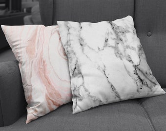 Decorative Throw Pillow in trendy marbled prints   black, grey & white marble + pink, grey and white marble available