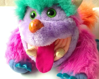 Vintage My Monster Pet Wogster Colorful Hand Puppet Plush Toy by Amtoy