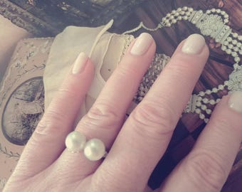 Palladium / Pearl / Diamond Ring (size 6.75)