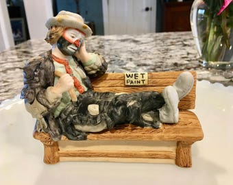 "Emmett Kelly Jr ~ Miniature Collection//""Wet Paint""//Exclusively By Flambro//Vintage Collectible"