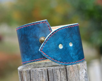 Genuine hand dyed leather red stitched bracelet. Men's bracelet. Unisex bracelet. Blue Leather.Indigo.Cuff.Wristband. Gift. Japanese Craft.