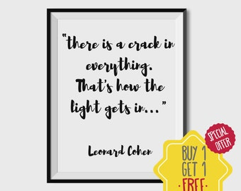 Leonard cohen, Quote wall decor, Downloadable quotes, inspirational wall art, Print at home art, Office decor, printable typography, prints