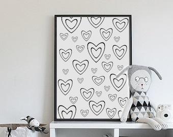 Heart Print, Kids Decor, Nursery Wall Art, Black and White, Love Print, Printable kids gift, Art for kids room, Baby gift,Monochrome nursery