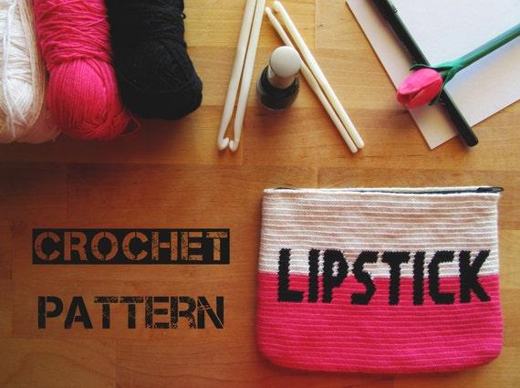 Crochet Toiletry Bag Pattern : Tapestry Crochet Cosmetic Bag Pattern / Crochet Make up Pouch